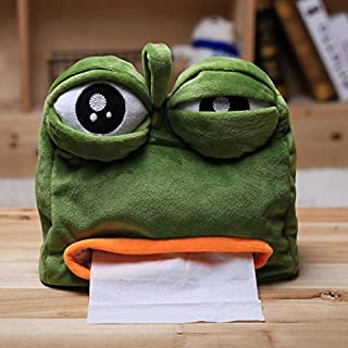 EOFK Cartoon Sad Pepe Frog Anime Plush Tissue Box Creative Doll Plush Toy Funny Toys Sad Frog Doll Must Haves for Kids 5 Year Old Girl Gifts Favourite Movie Superhero Toys UNbox Box