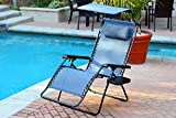 Jeco Oversized Zero Gravity Chair with Sunshade and Drink Tray, Blue
