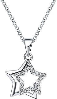 Belons Cadena para mujer de plata de ley 925 con circonita, cadena con colgante de estrella doble