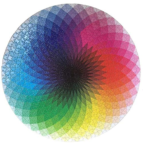 XYWN Gradient Puzzle Round Jigsaw 1000 Piece Puzzles Colorful Rainbow Puzzle Educational Game Stress Reliever for Adult Kids