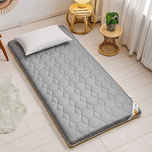 SBVDJ Colchón de piso japonés, grueso Tatami Sleeping Futon Colchón suave plegable enrollable portátil Camping transpirable colchón, gris, 120 x 200 cm