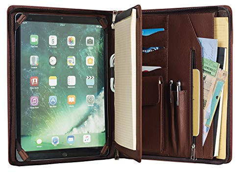 Handcrafted Leather Portfolio, Business Document Organizer Zippered Padfolio Folder for Letter Size Notepad/Notebook, Executive Travel Carrying Case, for iPad Pro 12.9(2018&2020)