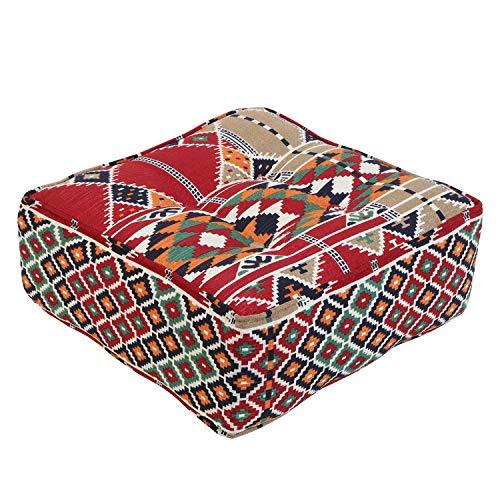 Casa Moro Orientalischer Sitpouf marokkanischer Pouf Kelim 51x51 cm (BxT) Sitzhöhe 20 cm inklusive formstabiler Füllung | Sitzkissen aus Marrakesch | MO4252