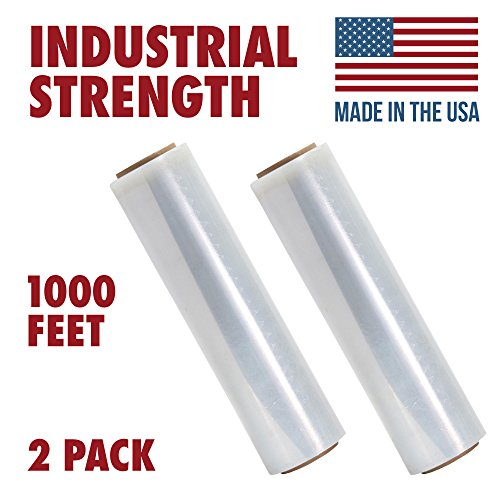 18 Inches X 1000 Tough Pallet Shrink Wrap, 80 Gauge Industrial Strength Plastic Film, Commercial Grade Strength Film, Moving & Stretch Packing Wrap, For Furniture, Boxes, Pallets (2-Pack)