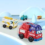 BESTWALED Mini 4PCS Super Alas(Sparky, Remi, Rover, Willy),Botón Vehículo Juguete De Niño Juego De Juguetes Deformado Robot Creatividad Regalo Serie Super Wing Regalos De Cumpleanos