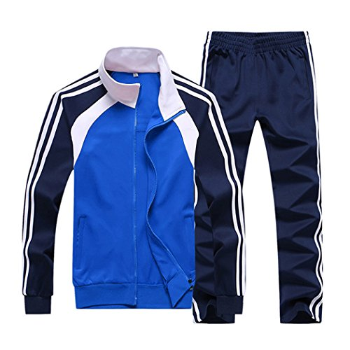 Sun Lorence Men's Athletic Running Tracksuit Set Casual Full Zip Jogging Sweat Suit Blue L
