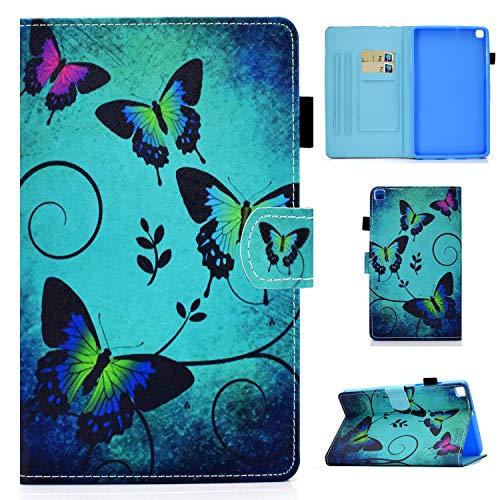 Yobby Hülle für Samsung Galaxy Tab S6 Lite 2020 10.4 P610/P615 Schutzhülle Grün Schmetterling Muster Leder Tasche Magnetisch Leicht Ständer Smart Cover mit Auto Schlaf/Wachen,Stifthalter/Handy Stand