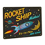 Rocket Ship Rides Sign Retro Spaceship Decor Only Made in The USA