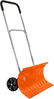 Ivation Heavy Duty Rolling Snow Pusher/Shovel 26