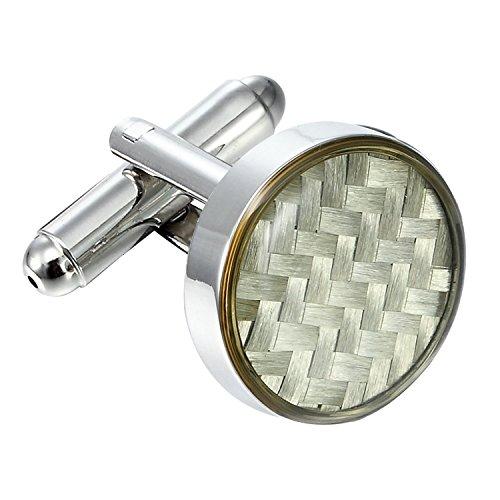 Bijoux Urban Boutons de manchette ronde en acier inoxydable 316L acier inoxydable et blanc en fibre de carbone pour hommes