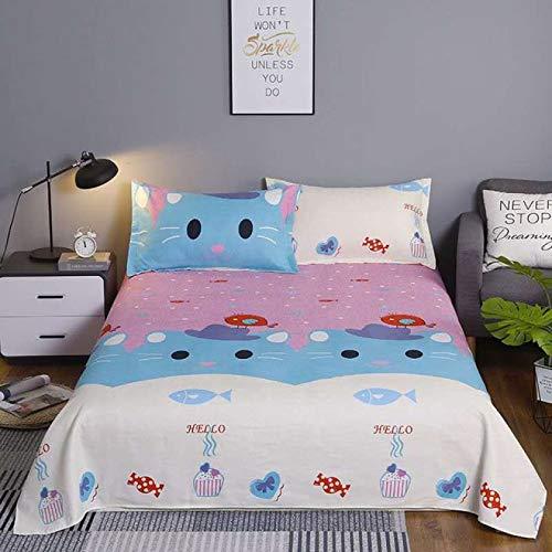 BIANXU Bed Sheet+ 2pcs Pillow Flat Sheet And Pillowcase Queen Size Bed Sheets Double Bed Cartoon Style Bedding Linen laminas Bedsheet160x230cm