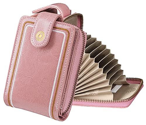 IamaCos Carteras de Mujer Portatarjetas Bloqueo RFID Tarjeteros para Tarjetas Billetera Cartera de Cuero Artificial 9 Ranuras 4 Ventana de Fotos con Colgante Rosa