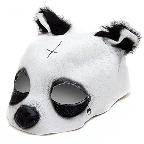 Goods & Gadgets Detailgetreue Panda Maske - Pandamaske aus Latex mit Kreuz & Träne Tiermaske