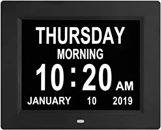 Digital Calendar Day Clocks Extra Large Non-Abbreviated Day&Month.Perfect for Seniors + Impaired Vision Dementia (Black,8-inch)
