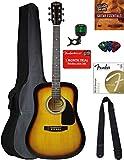 Fender Squier Dreadnought Acoustic Guitar - Sunburst Bundle with Gig Bag, Tuner, Strap, Strings, Picks, Instructional Book, and Austin Bazaar Instructional DVD