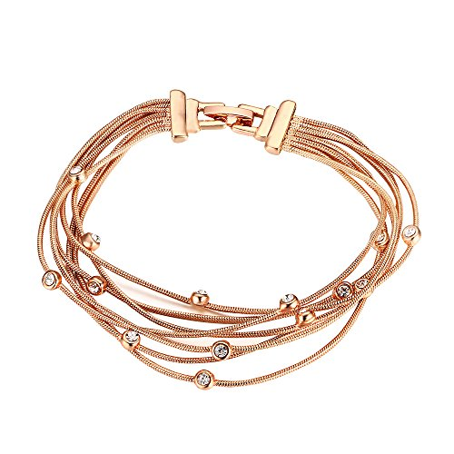 Seven Fashion 18K Rose Gold Crossed Multi-line Bracelet and Sparkling Cubic Zirconia Woman Girl
