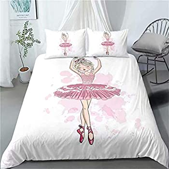 OUANGG Girls Pink Ballerina Bedding Cover Set Twin,Blue African American Ballet Princess Swan Printed Bed Comforter Cover Set,Cartoon White Duvet Cover,Kids Teens Bedroom Decor Birthday Gift  7,Twin