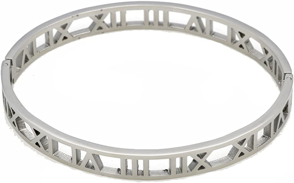 Baoliren Stainless Steel Hollow Out Roman Numerals Bracelet Bangle for Lady