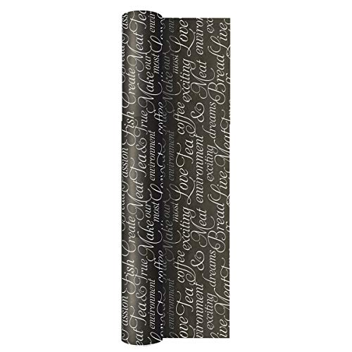 La Pajarita | Mantel en Rollo Decorado Parole 1,2x50 m | Negro | Rectangulares para la Mesa | con precorte a 40 cm ⭐