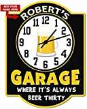 Redeye Laserworks Personalized Beer Thirty Garage Clock Sign from