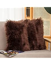 HYSEAS Set of 2 Decorative Faux Fur Throw Pillow Covers, Fluffy Soft Fuzzy Square Cushion Cover Pillow Case for Sofa, Couch, Chair, Bed, Café