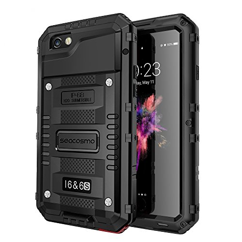 Seacosmo iPhone 6/6S Case, Military Grade IP68 Waterproof Dustproof Shockproof Full Body Sealed Underwater Case with Built-in Screen Protector Heavy Duty Metal Rugged Case for iPhone 6/6S, Black