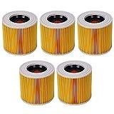 wivarra Filtro de Polvo de Aire de Repuesto de 5 Piezas para Piezas de Aspiradora Karcher WD2250 WD3.200 MV2 MV3 WD3 A2004 A2204 Filtro HEPA