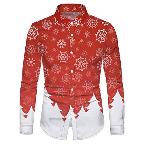 Geilisungren Weihnachten Hemd Herren Umlegekragen Knöpfe Slim Fit Hemden Weihnachtsmann Schneemann Druck Langarm T-Shirt Festival Party Kostüm Ugly Christmas Bluse Tops