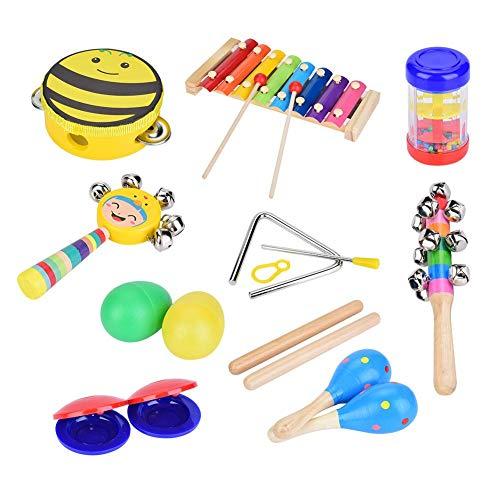 Juego de instrumentos musicales, 16 piezas de madera, música, preescolar, juguetes educativos, xilófono, huevo, coctelera, favores de la fiesta, juguetes musicales, juego de aprendizaje para niños pri