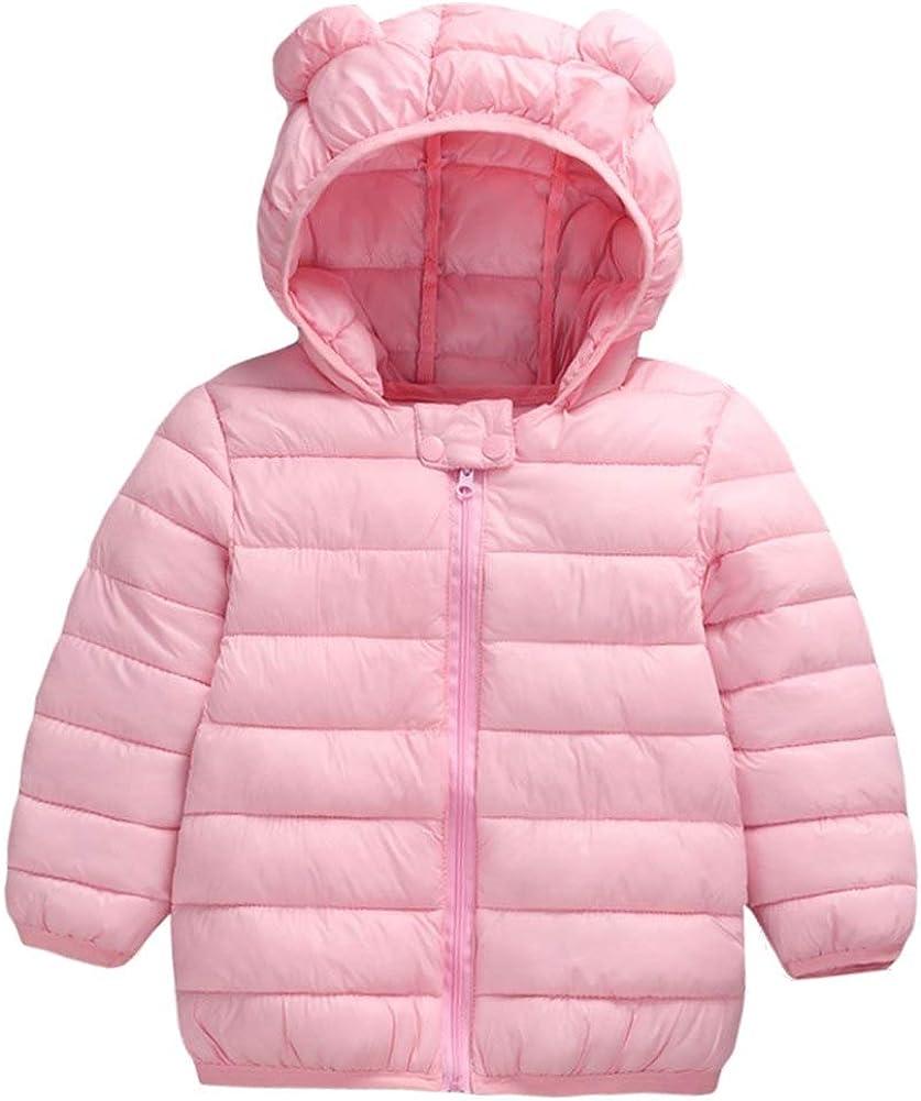Achiyi Infant Toddler Boys Girls Down Cotton Winter Ears Hoodie Coats Windproof Lightweight Warm Jacket