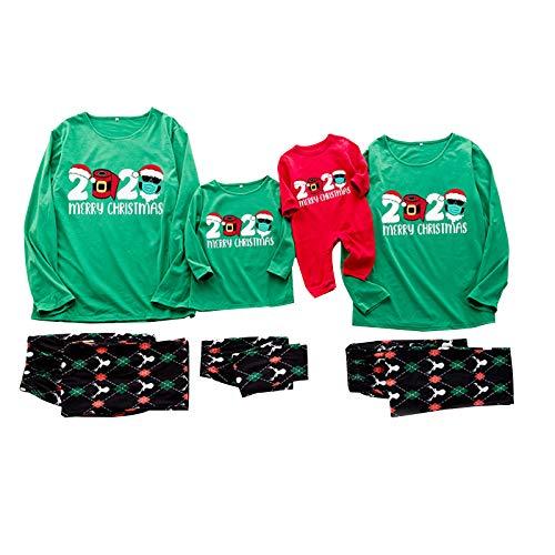 HEWYHAT Conjunto de pijama de Navidad familiar a juego para mujeres, hombres, niños, ropa de dormir para bebé, ropa de hogar, tops y pantalones, ropa de algodón, para niños, XL