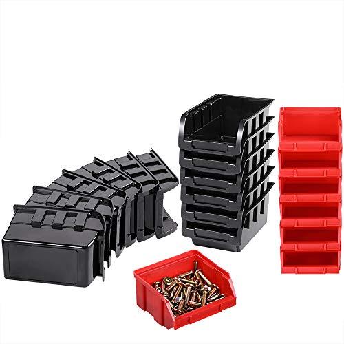 Deuba® Wandregal + Stapelboxen ✔ 32 tlg Box ✔ extra starke Wandplatten ✔ Regal erweiterbar ✔ Werkstattregal Lagerregal Werkstattwandregal Steckregal - 4