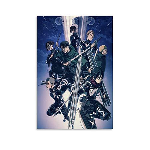 DIDIWEI Póster de Attack on Titan Season 4 sobre lienzo, impresión artística moderna para habitación familiar, 60 x 90 cm