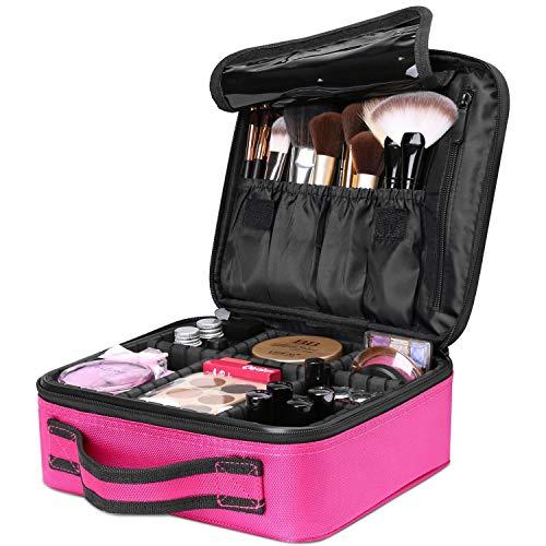 AMASAVA Borsa trucco con divisori rimovibili Borsa cosmetica Kit trucco Beauty Case per pennelli trucco Smalto per unghie ecc 26,5 * 11,5 * 23,5 cm Rosa
