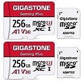 Gigastone Micro SD Card 256GB マイクロSDカード フルHD 2Pack 2個セット 2 SDアダプタ付 2 ミニ収納ケース付 w/adapters and case A1 U1 C10 95MB/S SDXC高速 micro sd カード Class 10 UHS-I Full HD 動画