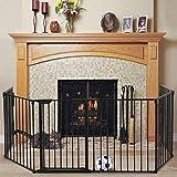Sandinrayli Fireplace Safety Fence Playpen 132.3-Inch Wide Barrier Pet Gate Guard Metal Fence (Black)