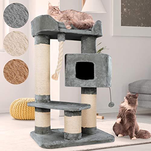 Happypet massiver Premium Kratzbaum, COMPACT CONDO I, für große Katzen (Maine Coon), 8mm Sisal, 15 cm Säulen, 118 cm Hoch, GRAU