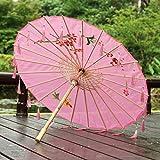 Viner Chinois Parapluie Ruban Parapluie en Soie Hanfu Parapluie Prop Tirer Ancien Costume paraguas Princesse Parasol, Fleuri Rose Frange