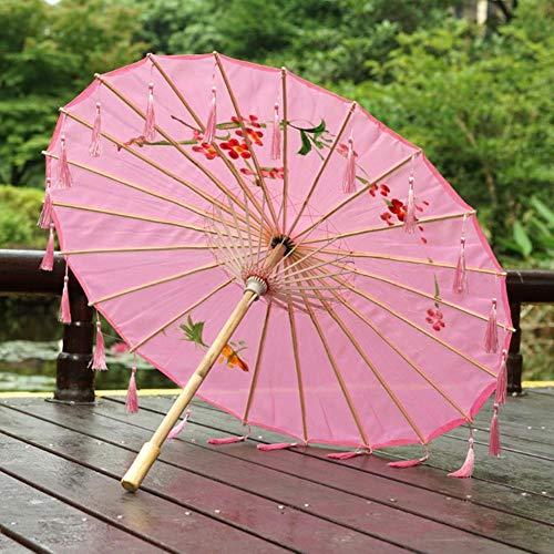 VINER Chinese Umbrella Ribbon Silk Umbrella Hanfu Umbrella Prop Shoot Ancient Costume Paraguas Princess Parasol, Floral Pink Franja