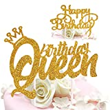 DELIGHTBOX Queen Birthday Cake Topper Gold Glitter Happy Birthday Cake Topper, Cake Toppers Birthday Party Decoration