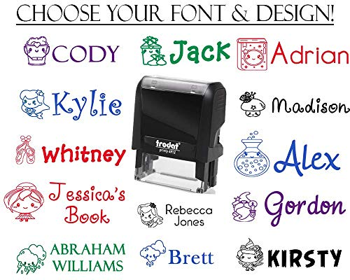 Over 100 Options! Self Inking Name Stamp, Custom Signature Stamper with Images - Kawaii Cleaning Images! Cute Ballerina Slippers, Bows, Mermaids + Unicorns! Weather, Wizards + Potions!