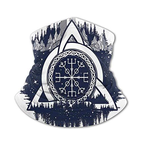Verctor Pañuelo para niños, Bandana Azul y Nudo Celta con tridentes, Bosque y montañas, Cultura escandinava, máscara Facial Azul Oscuro ⭐