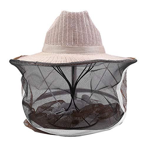 HSKB Imker Hut, Imkerhut mit Schleier, Imkerschleier, Imkerhaube Imker Baumwolle Bienenhut und Schleier für Bienenschutz Outdoor Kopfschutz und Gesichtschutz Netzhut