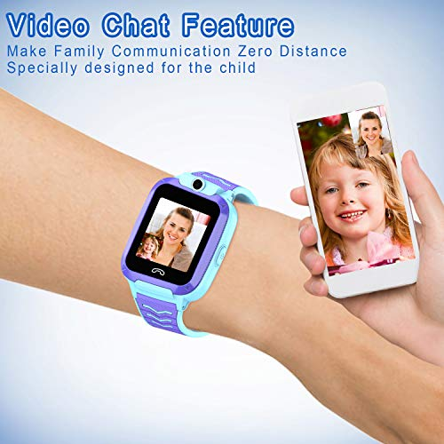 UOTO 4G Kids Smartwatch Phone, WiFi LBS GPS Tracker Watch Waterproof for Boys Girls with Pedometer/Remote monitoring/FaceTalk/2-way Call/SOS, Kids Christmas Birthday Gift(Blue-Q51) 7
