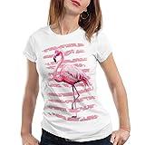 style3 Pink Power Camiseta para Mujer T-Shirt Flamenco Playa Vacaciones, Talla:S