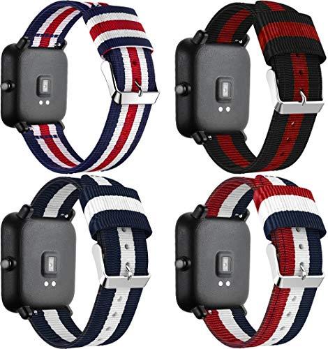 Chainfo Correa de Reloj de NATO Nailon Compatible con Huawei Watch GT/GT 2e / GT 2 (46mm), Mujer y Hombre, Hebilla de Acero Inoxidable (22mm, 4PCS A)