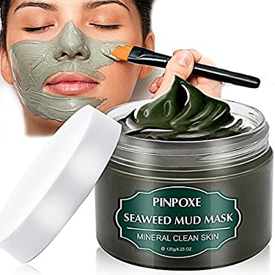 Blackhead Remover Mask, Blackhead Mask, Dead Sea Mud Mask, Acne face mask, Facial Mask, Seaweed Mask, Deep Cleaning Mask, Skin Mask with Algae, Against Impure Skin,Acne,Oily Skin,Blackheads,120g by PINPOXE