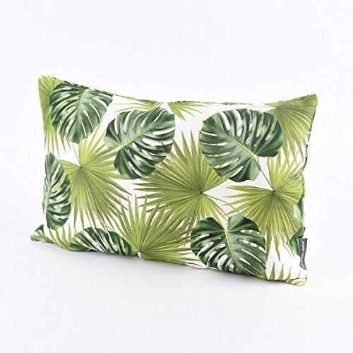 SCHÖNER LEBEN. Funda de cojín (30 x 50 cm), diseño de palmeras, color verde y blanco