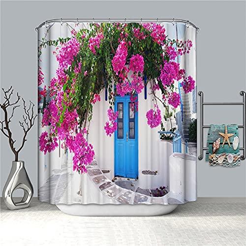 Cortina de Ducha de Paisaje de jardín Flor Impermeable Verde baño decoración del hogar Vintage para Cortinas de baño S.15 180x180cm