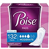 Poise Incontinence Pads, Moderate Absorbency, Regular Length, 132 Count (2 Packs of 66) (Packaging May Vary)